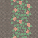 Seamless vertical lace pattern with roses. Vector background. Stock Photography