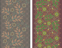 Seamless vertical lace pattern. Vector set of 2. Royalty Free Stock Photography