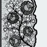 Seamless vertical lace ribbon with unusual floral pattern. Stock Images