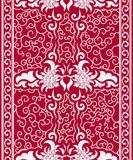 Seamless vertical pattern in a Chinese style. Borders of white flowers and curls on red background. Stock Photo