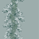 Seamless vertical pattern of decorative flowers hand-drawing. Ve Stock Photography