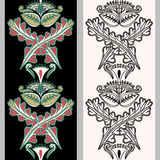 Seamless vertical pattern with Indonesian motifs. Hand drawn mehndi tattoo doodle borders isolated on a black and white background Royalty Free Stock Images