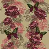 Seamless vertical pattern with roses and butterflies. Vector ill Royalty Free Stock Photos