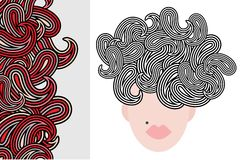 Seamless vertical pattern and woman with hair. Stock Photos
