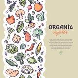 Seamless vertical vegan pattern with vegetables. stock illustration