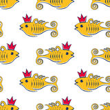 Seamless vetor pattern with fishes in crown Stock Image