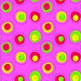 Seamless Vibrant Confetti Swirls Pink Pattern. Vibrant confetti dots and swirls geometric pattern. Seamless tile Royalty Free Stock Photos