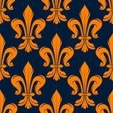 Seamless victorian fleur-de-lis flowers pattern Royalty Free Stock Images