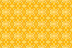 Seamless Victorian lines background. Orange background with white intricate Victorian lines pattern.  Seamless tile Royalty Free Stock Photo