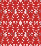 Seamless victorian red texture with fleur-de-lis royalty free stock image