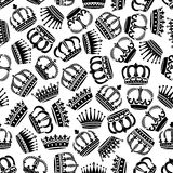 Seamless victorian royal crowns pattern background Royalty Free Stock Photography