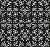 seamless victorianwhite för svart blom- prydnad Arkivbild