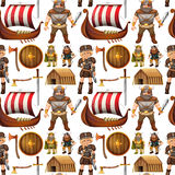 Seamless viking people and ship Stock Photo