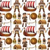 Seamless viking people and ship Stock Photo