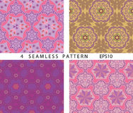 Seamless vintage abstract pattern. Vector set of 4. Royalty Free Stock Photos