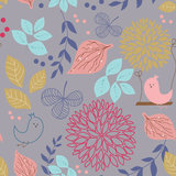 Seamless vintage background with birds and  flower Stock Image