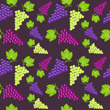 Seamless vintage background with bunch of grapes Stock Photo