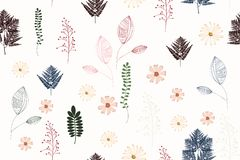 Seamless Vintage Background Pattern With Autumn Leaves, Flowers, Fern And Herbs. Stock Photos