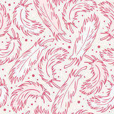 Seamless vintage background with plumes. Decorative abstract pattern with hand drawn feathers Royalty Free Stock Photo