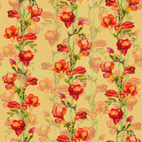Seamless vintage background - retro freesia flower. Floral watercolor. Seamless floral background with hand painted colorful red freesia flowers. Watercolor Royalty Free Stock Image