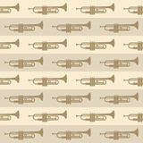 Seamless vintage background with trumpets Stock Image