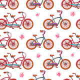 Seamless vintage bicycles Stock Photography