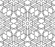Seamless Vintage Black and White Geometric Pattern. Tile Texture Stock Photo