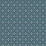 Seamless vintage blue flower diamond check pattern background. Royalty Free Stock Image