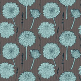 Seamless vintage brown floral pattern with blue aster Royalty Free Stock Photo