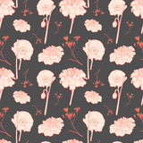 Seamless vintage brown floral pattern with poppy Royalty Free Stock Photo