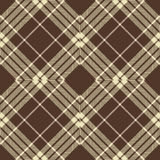Seamless vintage brown Scotland diamond check crossed line pattern background. Stock Photography