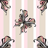 Seamless vintage butterfly pattern on striped background Stock Photo