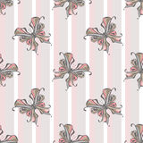 Seamless vintage butterfly pattern on striped background Royalty Free Stock Images