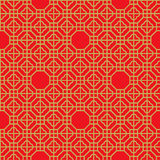 Seamless vintage Chinese window golden polygon geometry check pattern background. Royalty Free Stock Photos