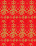 Seamless vintage Chinese window golden square geometry check pattern background. Royalty Free Stock Photography