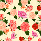 Seamless vintage cute rose vector pattern background. Stock Photo