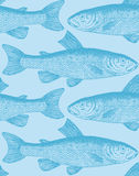 Seamless vintage fish pattern (vector). Seamless vintage fish pattern, scalable and editable vector illustration; perfectly tile-able both horizontally and stock illustration