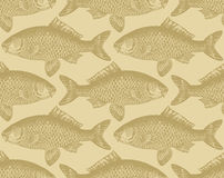 Seamless Vintage Fish Pattern (vector) Royalty Free Stock Photos