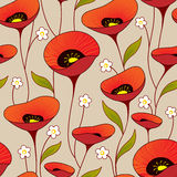 Seamless vintage floral background. With poppy Royalty Free Stock Photography
