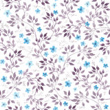Seamless vintage floral background with cute ditsy flowers and leaves. Watercolour painted art Royalty Free Stock Image