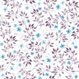 Seamless vintage floral background with cute ditsy flowers and leaves. Watercolour painted art Stock Photos