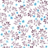Seamless vintage floral background with cute flowers and leaves. Watercolour painted art stock illustration