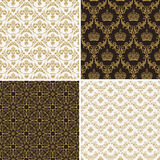Seamless vintage floral background gold and black pattern Stock Photo