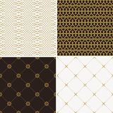 Seamless vintage floral background gold and black pattern Stock Photos