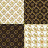 Seamless vintage floral background gold and black pattern Royalty Free Stock Image