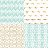 Seamless vintage floral background gold and pastel pattern Stock Photography