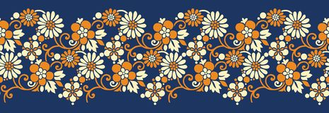 Seamless vintage floral border stock images