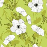 Seamless vector vintage anemone flower pattern stock illustration