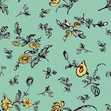 Seamless  vintage floral pattern green background Stock Image