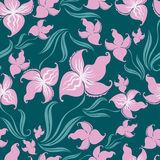 Seamless vintage floral pattern with orchid Stock Image